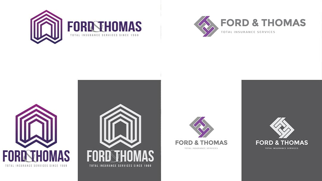 Samples of logo proofs for client ford and thomas