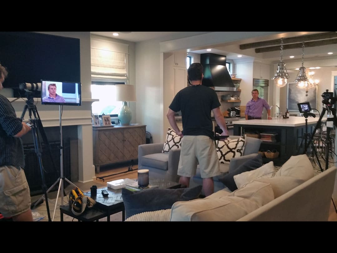 Picture of behind the scenes home builder video production shoot